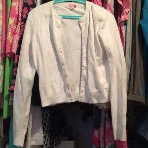 Lilly Pulitzer White Cotton Sweater Sz M P&G Trim